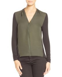 Elie Tahari Malia Mixed Media Blouse at Bloomingdales