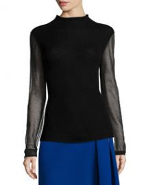 Elie Tahari Maxina Merino Sweater w Sheer Sleeves at Neiman Marcus