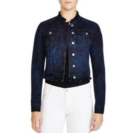 Elie Tahari Meggie Lace Back Collarless Denim Jacket at Amazon