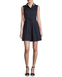 Elie Tahari Samiyah Sleeveless Pleated Dress w  Embellished Collar blue at Neiman Marcus