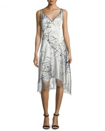 Elie Tahari Seldana Silk V-Neck Dress   Neiman Marcus at Neiman Marcus