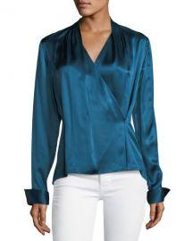 Elie Tahari Shelly Long-Sleeve Surplice Silk Satin Blouse at Neiman Marcus