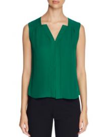 Elie Tahari Sheyda Pleat Silk Top green at Bloomingdales