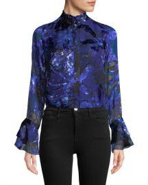Elie Tahari Teddie Bell-Sleeve Blouse at Neiman Marcus