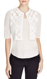 Elie Tahari Women s Margo Open Knit Crop Cardigan Sweater White Size Small at Amazon