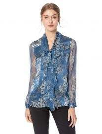 Elie Tahari Women s Silk Charmeuse Trellis Poppy Printed Jurnee Blouse at Amazon