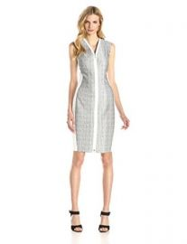 Elie Tahari Womenand39s Mila Micro Tweed Sheath Dress at Amazon