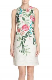 Eliza J Placed Floral Print Stretch A-Line Dress  Regular   Petite at Nordstrom