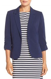 Eliza J Ruched Sleeve Blazer navy at Nordstrom