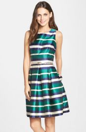 Eliza J Belted Stripe Twill Fit andamp Flare Dress at Nordstrom