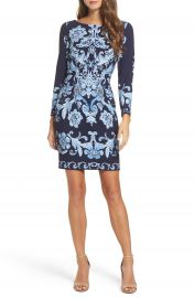 Eliza J Crepe Sheath Dress  Regular   Petite at Nordstrom