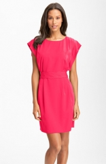 Eliza J Drape Sleeve Sash Belt Dress at Nordstrom