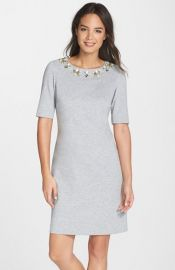 Eliza J Embellished Heathered Ponte Shift Dress at Nordstrom