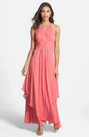 Eliza J Embellished Tiered Chiffon Halter Gown at Nordstrom