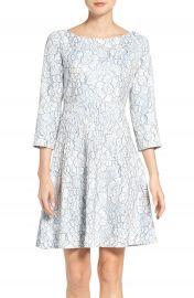 Eliza J Embroidered Floral Fit   Flare Dress  Regular   Petite at Nordstrom
