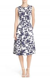 Eliza J Floral Print Faille Midi Dress at Nordstrom