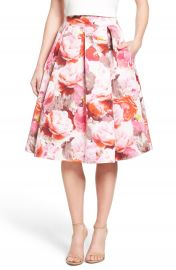 Eliza J Floral Print Pleated Midi Skirt at Nordstrom