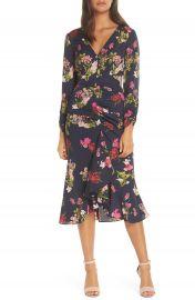 Eliza J Floral Ruched Midi Dress at Nordstrom