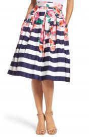Eliza J Floral Stripe Midi Skirt at Nordstrom