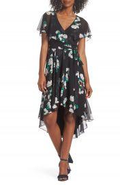 Eliza J Flutter Sleeve High Low Dress at Nordstrom
