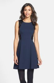 Eliza J Leather Panel Ponte Knit Skater Dress at Nordstrom