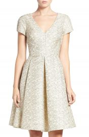 Eliza J Metallic Jacquard Fit   Flare Dress at Nordstrom