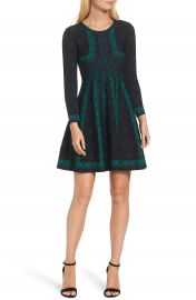Eliza J Pattern Double-Knit Fit   Flare Dress at Nordstrom