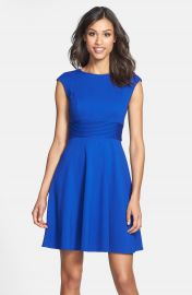 Eliza J Pintucked Waist Seamed Ponte Knit Fit and Flare Dress in Blue at Nordstrom