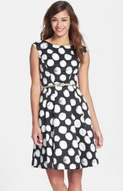 Eliza J Polka Dot Faille Fit andamp Flare Dress at Nordstrom