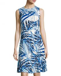 Eliza J Side-Ruched Palm-Print Dress at Last Call