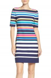 Eliza J Stretch Short Sleeve Dress  Regular   Petite at Nordstrom
