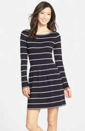 Eliza J Stripe Fit andamp Flare Sweater Dress at Nordstrom