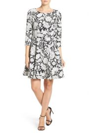 Eliza J Two-Tone Jacquard Fit  Flare Dress at Nordstrom Rack