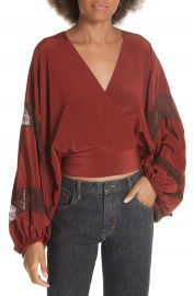 Elizabeth  amp  James Talia Puff Sleeve Silk Wrap Blouse at Nordstrom