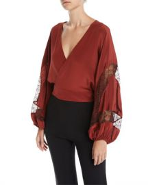Elizabeth  amp  James Talia Silk Wrap Top with Lace Inserts at Neiman Marcus