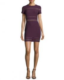 Elizabeth and James Ari Short-Sleeve Fitted Dress Plum at Neiman Marcus