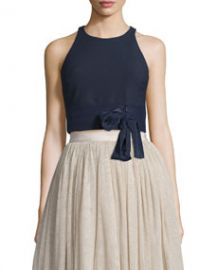 Elizabeth and James Eniko Sleeveless Crop Top  French Navy at Neiman Marcus