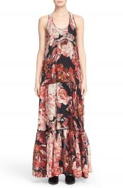 Elizabeth and James Floral Print Tiered Silk Maxi Dress at Nordstrom