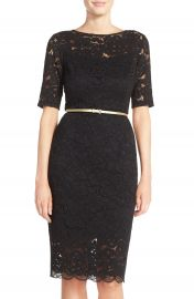 Ellen Tracy Belted Lace Sheath Dress   at Nordstrom