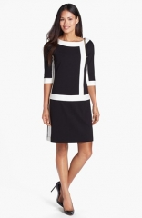 Ellen Tracy Front Zip Colorblock Ponte Knit Shift Dress at Nordstrom