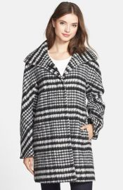 Ellen Tracy Houndstooth Pattern Wool Blend Coat at Nordstrom