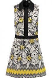 Ellis poplin-trimmed cotton-blend jacquard mini dress at The Outnet