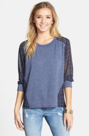 Elodie Chiffon Back Sweatshirt in Blue at Nordstrom