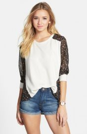 Elodie Chiffon Back Sweatshirt in White at Nordstrom