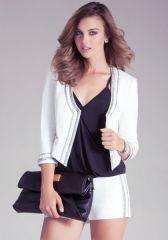 Embellished Collar Jacket in white at Bebe