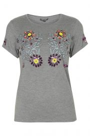 Embellished Flower Tee at Topshop