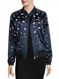 Embellished Silk Varsity Jacket at Saks Off 5th