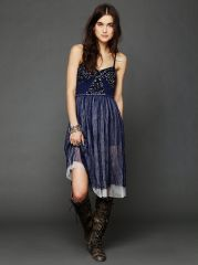 Embellished Tulle Slip at Free People