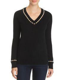 Embellished V-Neck Cashmere Sweater at Bloomingdales