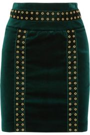 Embellished Velvet Mini Skirt by Pierre Balmain at Net A Porter